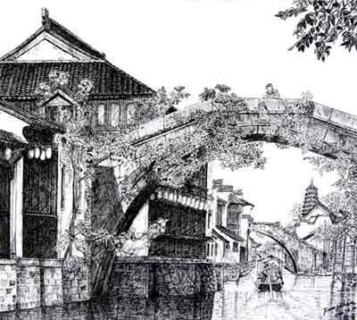 江南风景素描简单铅笔画