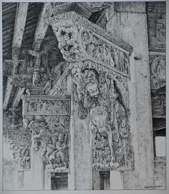 江南古建筑以极其精美的木雕工艺,装饰其粱,柱,门等内部构件,体现