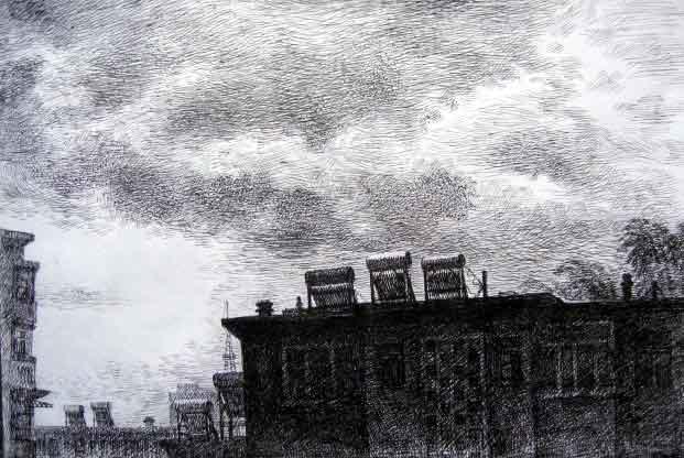 <雨中街景>  <城雨>主题:内容: 画好自己的钢笔画,一起努力.谢谢
