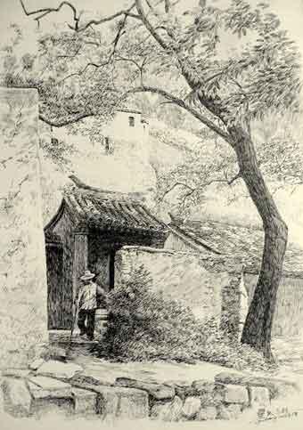 风景写生 速写 钢笔画 家   临摹的建筑速写钢笔画,慢慢的
