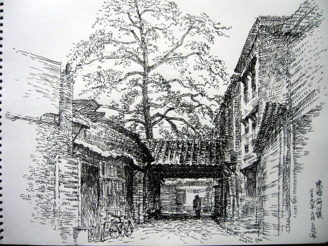 建筑手绘图黑白