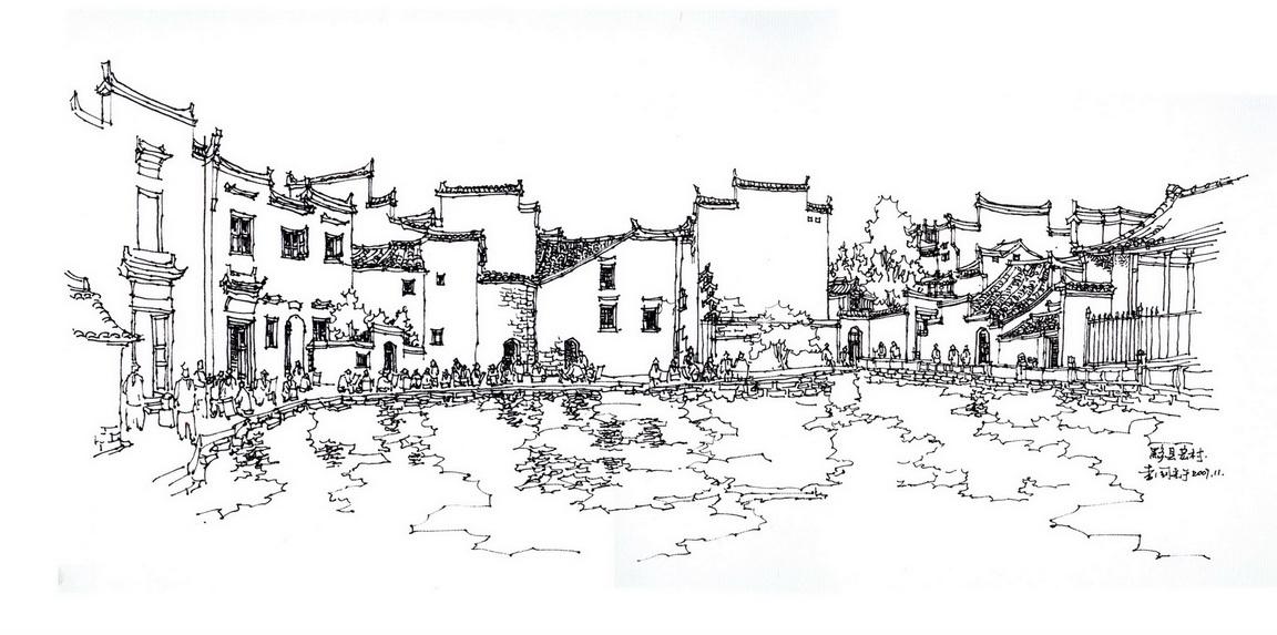 古风景手绘线稿