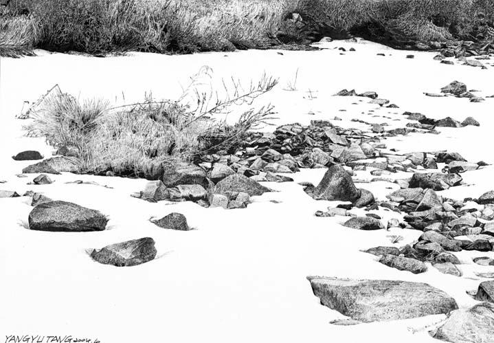 杨雨堂写实钢笔风景画之石头篇; 【钢笔画】杨雨堂《寂静山村》